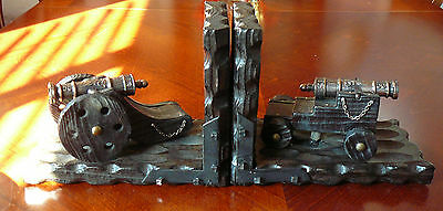 VINTAGE METAL REPLICA CANNON WOOD BOOKENDS Made in Spain