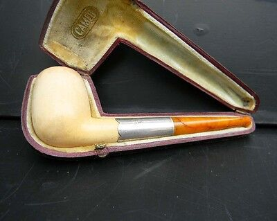 Pipe smoking Solid silver with amber and Meerschaum bowl.