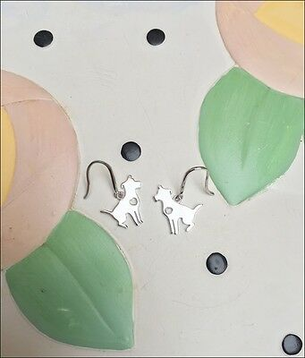 Sitting Pit Bull Sterling Silver Earrings - New - FREE SHIPPING