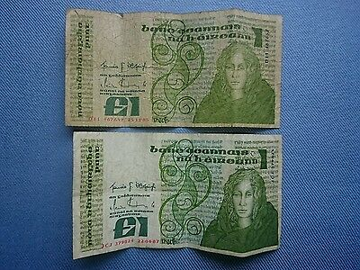 Vintage 1985 And 1987,Central Bank Of Ireland £1 Banknotes.��.