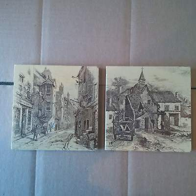 1 Lot of 2 Victorian Fireplace Tile Towns Transfer Minton Architectural Salvage