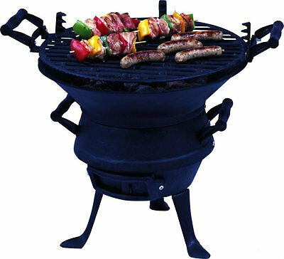 Cast Iron Fire Pit Log Burner Charcoal Bbq Grill Garden Patio Camping Barbecue