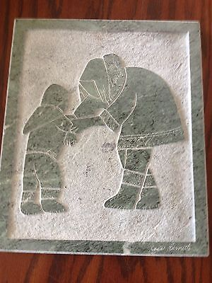 "Inuit Eskimo Sculpture Carving ""Mother and Child"" Signed David Bernett Marble"