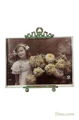 DUSX Antique French Green Metal Bevelled Glass Picture Photo Frame 18 x 16.5cm