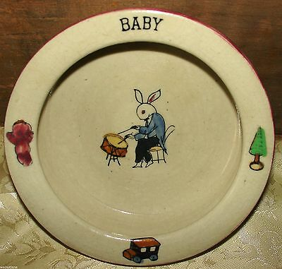 Vintage Childs Bunny Rabbit Pottery Bowl with Toys Prim Doll Drums Truck Tree