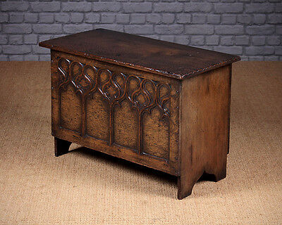 Small Antique Carved Oak Coffer c.1930.