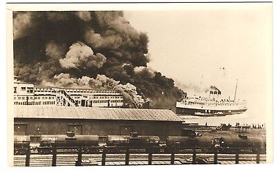 """Rppc: 1938 Cpr Dock Fire, Vancouver, """"princess Charlotte,"""" Disaster"""