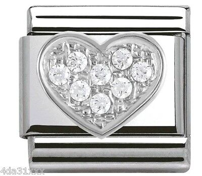 NEW Authentic, Genuine Nomination Classic valentines crystal heart silver charm