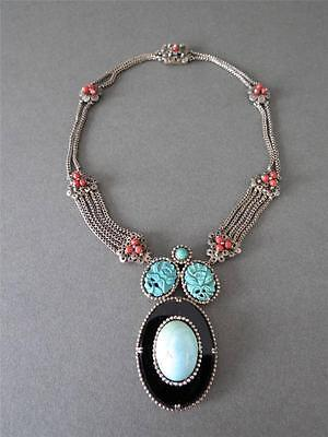 Vintage Chinese Carved Green Blue Turquoise & Coral Filigree Silver Necklace WOW