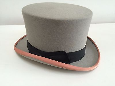 vintage DUNN and CO LONDON grey felt top hat size 7 1/4