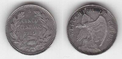 CHILE - SILVER 5 CENTAVOS COIN 1919 YEAR KM#155.2a