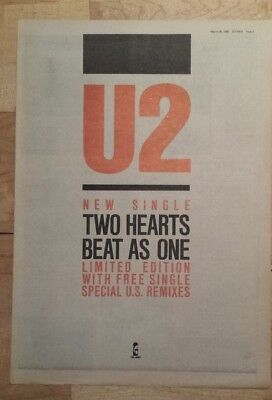 U2 Two hearts beat as one 1983 press advert Full page 39 x 28 cm mini poster