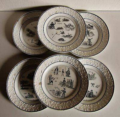 Signature en creux:Porcelaine de Choisy:Lot de 6 assiettes rébus: