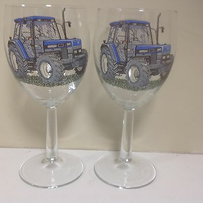 New Holland Tractor 2   Large Wine Glasses