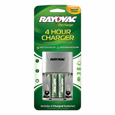 RAYOVAC Recharge 4 Hour AA / AAA Battery Charger + 2 AA Rechargeable Batteries