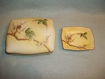 SHOFU CHINA Made In Occupied Japan, covered box & small dish, raised decoration