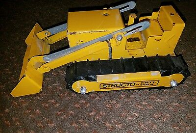Vintage Structo Pressed Steel Yellow Bulldozer Construction Toy Made By Ertl