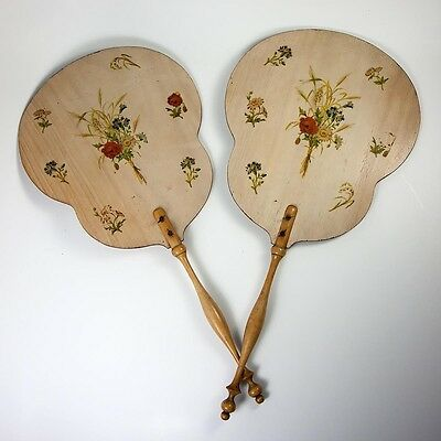 Antique French Pair Victorian Face Screens, Florals on Wood, Turned Wood Handles