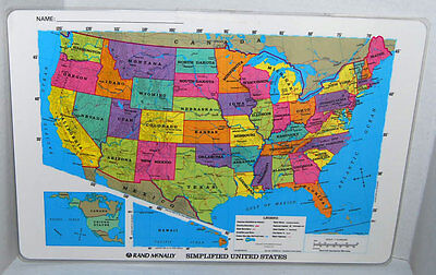 Rand McNally Simplified USA United States and World Map Place Mat 12x18 inches