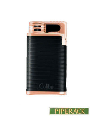 Colibri Belmont Black & Polished Gold Single Jet Flame Lighter Luxury Gift Boxed