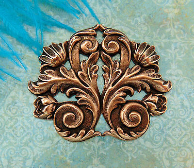 ANTIQUE COPPER FLOURISH SCROLL LEAF Stamping ~ Jewelry Findings (FB-6042) `