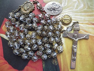 1940s Vintage Large Clear Beads Rosary-Cappings Medals Assumption Pope Pius X