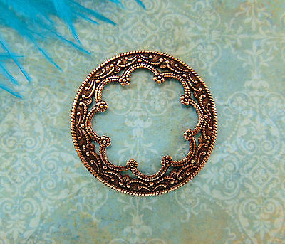 ANTIQUE COPPER (3 Pieces) Round Scallop Medallion Stamping - Findings (CB-3042)