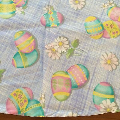 "Vtg tablecloth EASTER pastel blue decorated eggs pink flowers 69""rd"