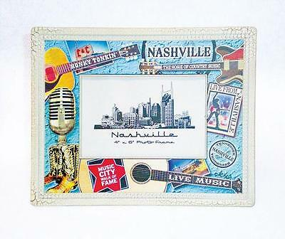 "Photo Frame Nashville Plastic With Colorful Collage Design. Holds 4""  New"