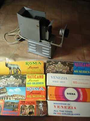 Antiguo Vintage Proyector diapositivas Slide Projector 581 slides ITALY Pictures