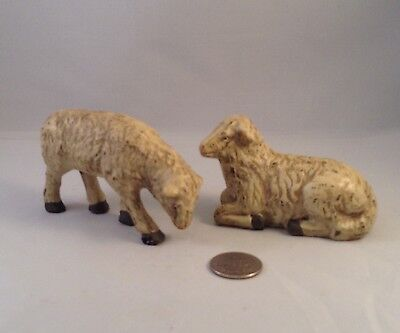 Primitive Pair of Sheep Figurines