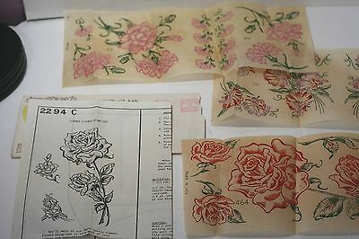 Vintage 1964 colored iron on transfers embroidery patterns Grit Newspaper flower