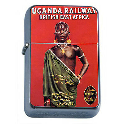 Vintage Poster D59 Windproof Dual Flame Torch Lighter Uganga Railway East Africa