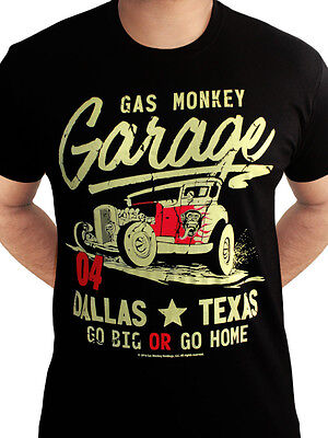 Gas Monkey Garage Go Big or Go Home Fast N Loud Official Black Mens T-shirt