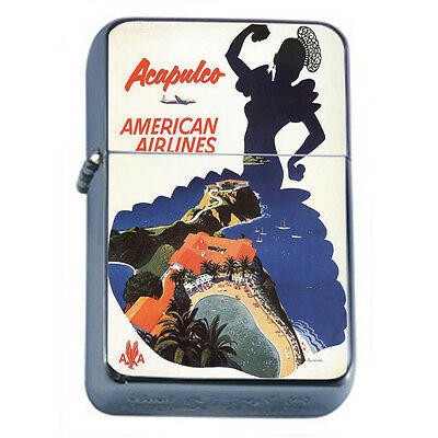 Vintage Poster D67 Windproof Dual Flame Torch Lighter Acapulco American Flights