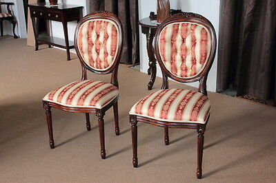 French Round Back Chair in Louis XVI Style with Upholstered/Tufted Backrest