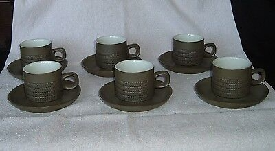 "6 Denby ""Chevron"" Tea or Coffee Cups + Saucers Discontinued Pattern 1962-1978"