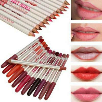 New 12 Colours-Set-True Makeup Lips-Lip-Liner-Pencil-Cosmetic-Eyeliner BNIB