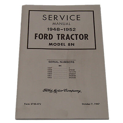 Chassis Dealer Shop Service Manual for Ford 8N 8-N Tractor 1948 - 1952