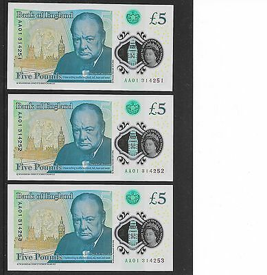 VERY RARE. 3 x BANK OF ENGLAND AA01 £5 NOTES IN MINT UNCIRCULATED CONDITION