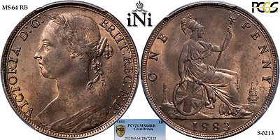 iNi  Great Britain, Victoria, Penny, 1883, PCGS MS 64 RB