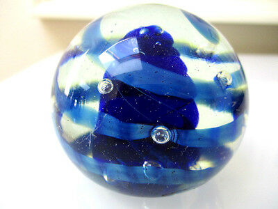 Beautiful Murano art glass paper weight. Blue Swirl  Italian