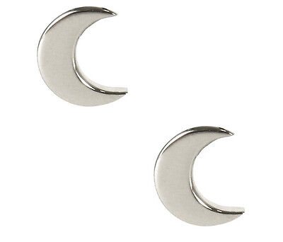 Silver Moon Earrings Tiny Solid Sterling 925 Silver Small Half Cresent Ear Studs