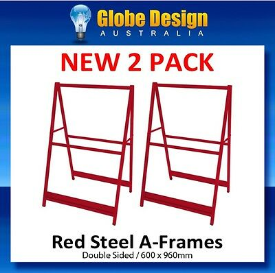 2 PACK A-Frame sign/ Sandwich board/Aframe - RED steel 600x960mm - No inserts
