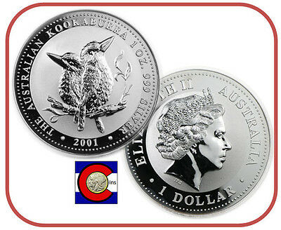 2001 Australia Kookaburra 1 oz. Silver Coin - BU direct from Perth Mint roll