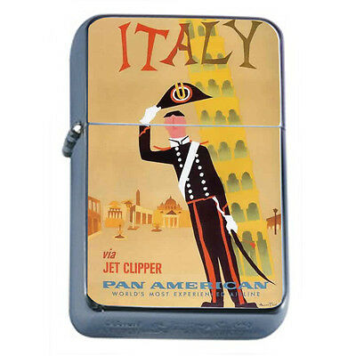 Vintage Poster D85 Windproof Dual Torch Lighter Italy Via Jet Clipper Airlines