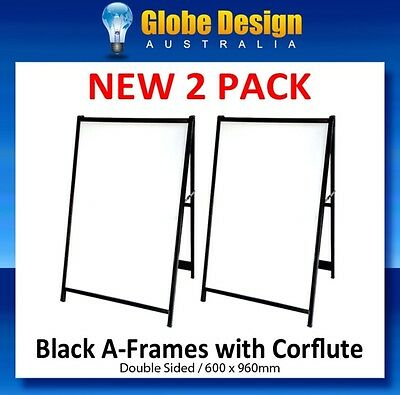 2 PACK of CORFLUTE INSERTED A-Frame sign/ Sandwich board/Aframe - Black steel