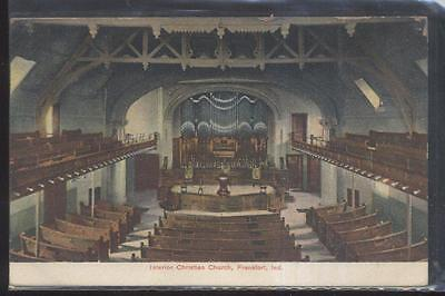 Postcard FRANKFORT Indiana/IN  Christian Church Interior Aerial view 1907