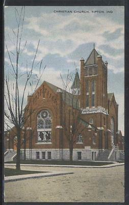 Postcard TIPTON Indiana/IN  Christian Church w/Tall Bell Tower 1907