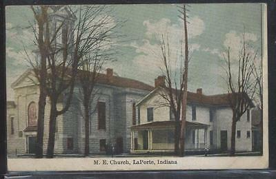 Postcard LaPORTE Indiana/IN  M.E. Methodist Episcopal Church & Rectory 1907